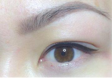 Close-up af avanceret permanent makeup eyeliner