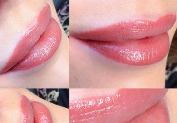 Close-up af permanent makeup læber, contourless lips